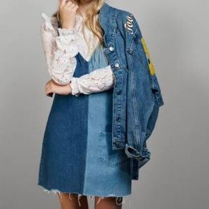 Two tone denim overall dress